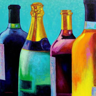 DiaNoche Designs Artist | John Nolan - Four Wine Bottles