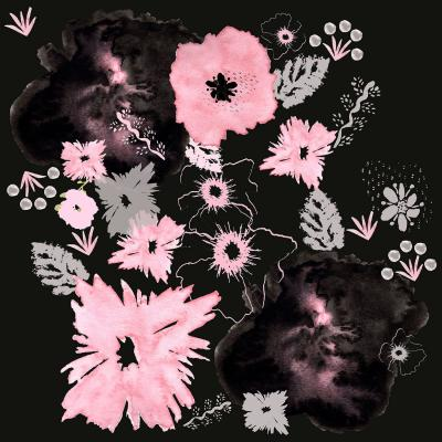 DiaNoche Designs Artist | Julie Ansbro - Black Pink Flowers