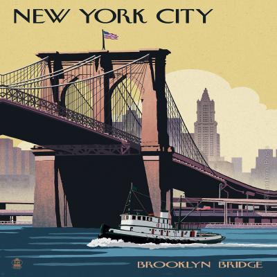 DiaNoche Designs Artist | Lantern Press - Brooklyn Bridge New York City