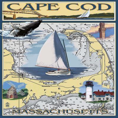 DiaNoche Designs Artist | Lantern Press - Cape Cod Map