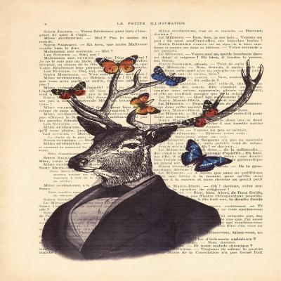 DiaNoche Designs Artist | Madame Memento - Deer Portrait Butterflies