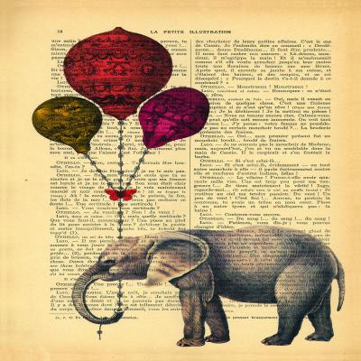 DiaNoche Designs Artist | Madame Memento - Elephant Red Balloons