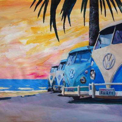 DiaNoche Designs Artist | Markus Bleichner - Blue VW Bus Line
