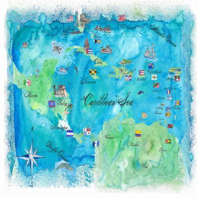 DiaNoche Designs Artist | Markus Bleichner - Caribbean Travel Map