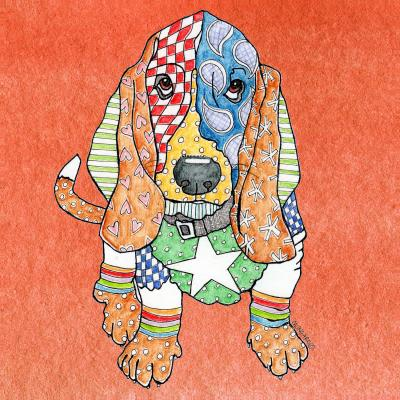 DiaNoche Designs Artist | Marley Ungaro - Basset Hound Dog Orange