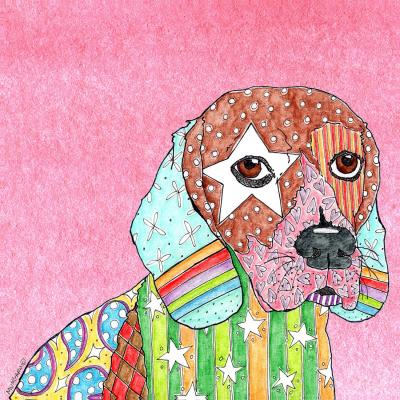 DiaNoche Designs Artist | Marley Ungaro - Beagle Dog Light Pink