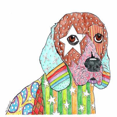 DiaNoche Designs Artist | Marley Ungaro - Beagle Dog White