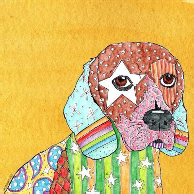 DiaNoche Designs Artist | Marley Ungaro - Beagle Dog Gold