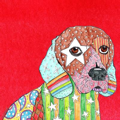 DiaNoche Designs Artist | Marley Ungaro - Beagle Dog Red