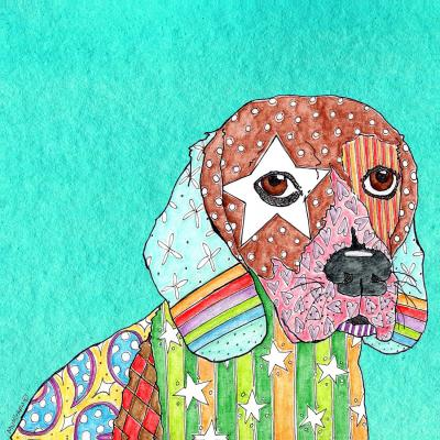 DiaNoche Designs Artist | Marley Ungaro - Beagle Dog Turquoise