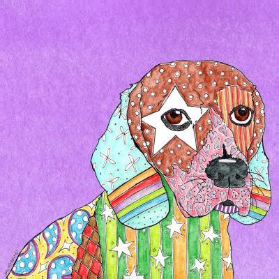 DiaNoche Designs Artist | Marley Ungaro - Beagle Dog Violet