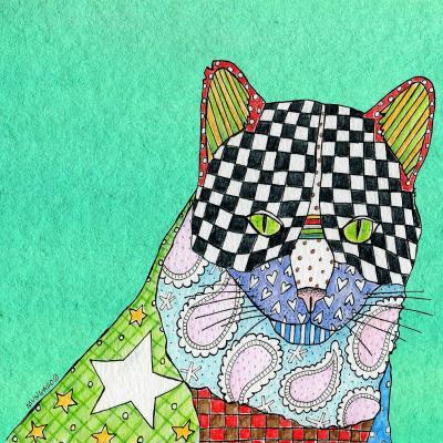 DiaNoche Designs Artist   Marley Ungaro - Cat Teal