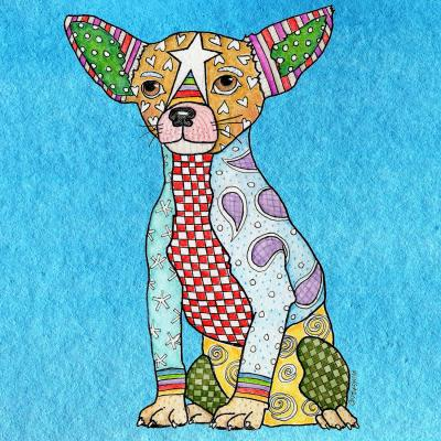 DiaNoche Designs Artist | Marley Ungaro - Chihuahua Dog Aqua