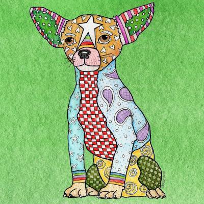 DiaNoche Designs Artist | Marley Ungaro - Chihuahua Dog Green