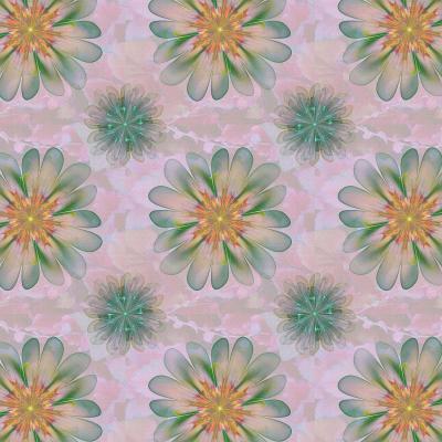 DiaNoche Designs Artist | Pam Amos - Abstract Flower Tile Orange Jade