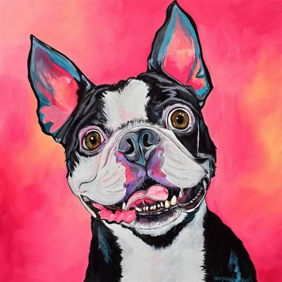 DiaNoche Designs Artist | Patti Schermerhorn - All Smiles Boston Terrier