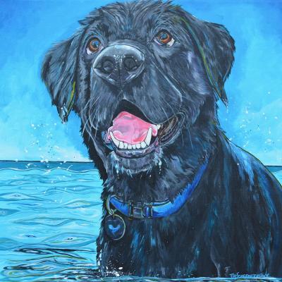 DiaNoche Designs Artist | Patti Schermerhorn - Black Labrador Water