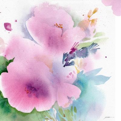 DiaNoche Designs Artist   Sheila Golden - Blue Flowers Magenta Flowers