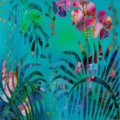 DiaNoche Designs Artist | Sonia Begley - Tropical Palms Blue Green