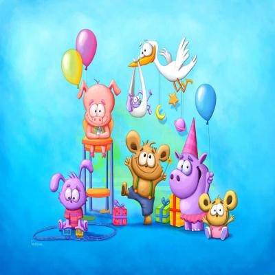 DiaNoche Designs Artist Baby Animal Party Blue - Tooshtoosh