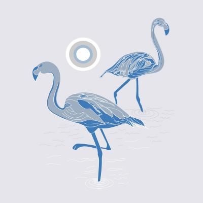 DiaNoche Designs Artist   Yasmin Dadabhoy - Flamingo 1 Blue