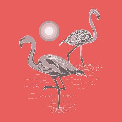 DiaNoche Designs Artist   Yasmin Dadabhoy - Flamingo 1 Grapefruit