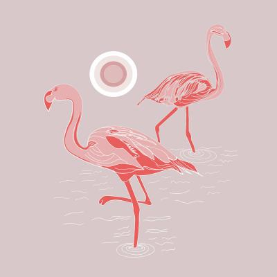 DiaNoche Designs Artist | Yasmin Dadabhoy - Flamingo 1 Gray Pink