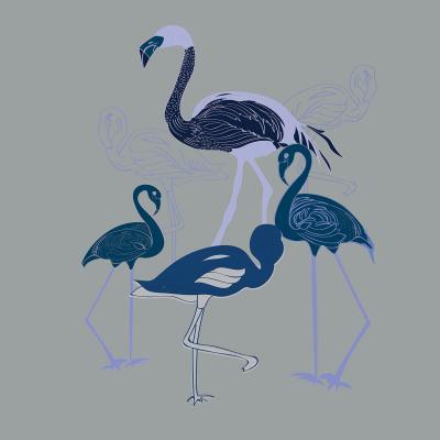 DiaNoche Designs Artist | Yasmin Dadabhoy - Flamingo 2 Blue