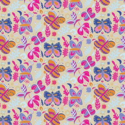 DiaNoche Designs Artist | Yasmin Dadabhoy - Butterflies Tan Pink Yellow