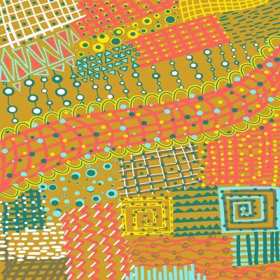 DiaNoche Designs Artist   Yasmin Dadabhoy - Doodle Towel