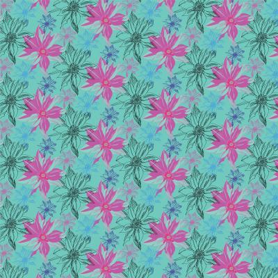 DiaNoche Designs Artist | Yasmin Dadabhoy - Shaded Flower Green Pink