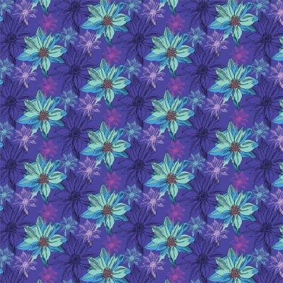 DiaNoche Designs Artist   Yasmin Dadabhoy - Shaded Flower Purple Blue