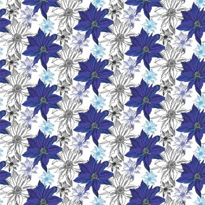 DiaNoche Designs Artist   Yasmin Dadabhoy - Shaded Flower White Blue