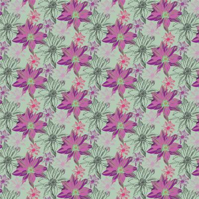 DiaNoche Designs Artist   Yasmin Dadabhoy - Shaded Flower Purple Green