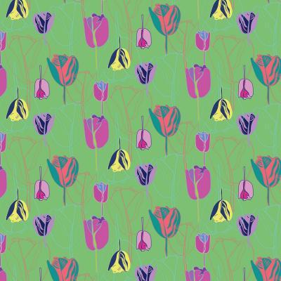 DiaNoche Designs Artist   Yasmin Dadabhoy - Tulips Green Pink