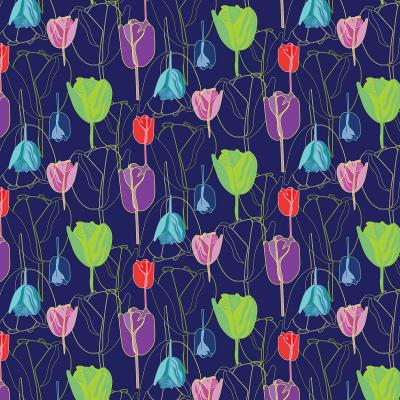 DiaNoche Designs Artist   Yasmin Dadabhoy - Tulips Navy Multi