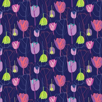 DiaNoche Designs Artist   Yasmin Dadabhoy - Tulips Navy Pink