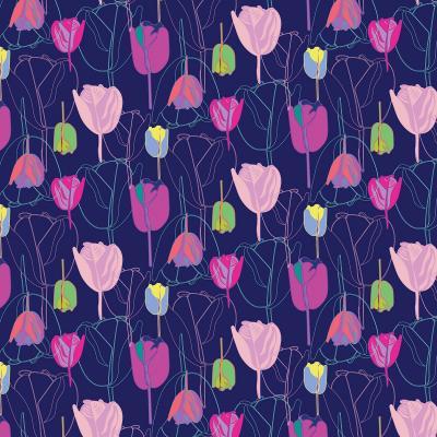 DiaNoche Designs Artist   Yasmin Dadabhoy - Tulips Navy Purple