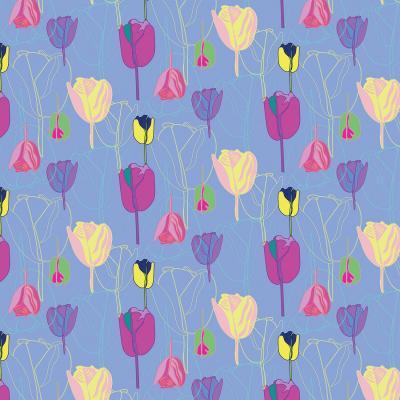 DiaNoche Designs Artist   Yasmin Dadabhoy - Tulips Periwinkle Purple
