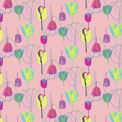 DiaNoche Designs Artist   Yasmin Dadabhoy - Tulips Pink Green