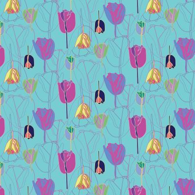 DiaNoche Designs Artist   Yasmin Dadabhoy - Tulips Teal Purple