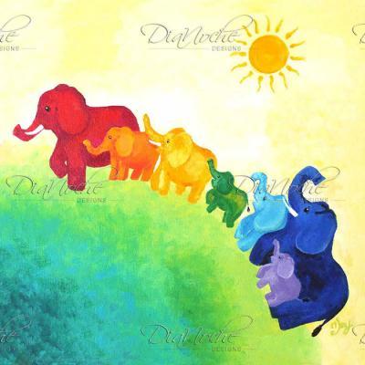 DiaNoche Designs Artist | nJoy Art - Elephant Rainbow